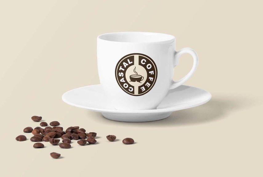 coastal coffee logo design on cup