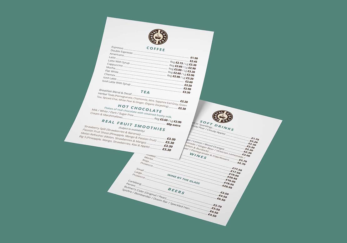 coastal coffee drinks menu design