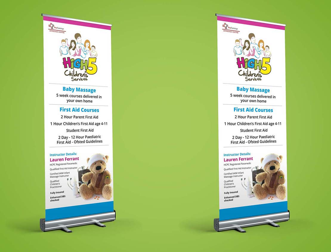 pop up banners for high 5 childrens services