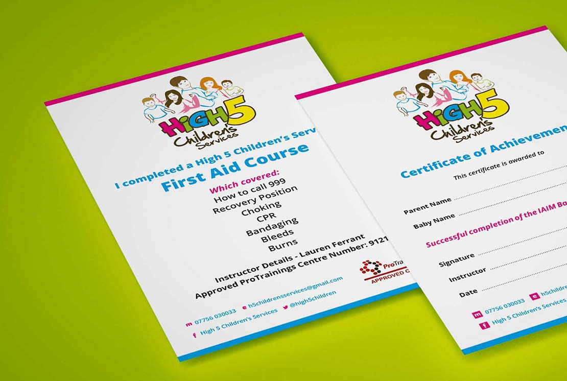 certificate designs for high 5