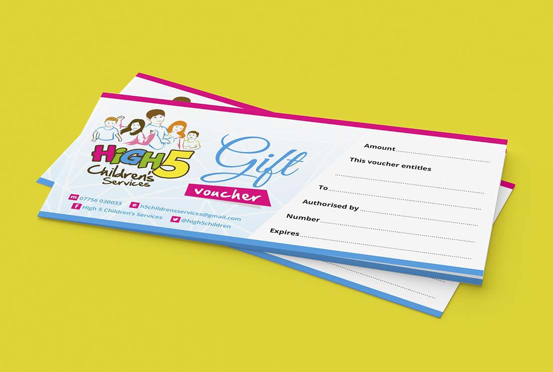 gift voucher designs for high 5 childrens services