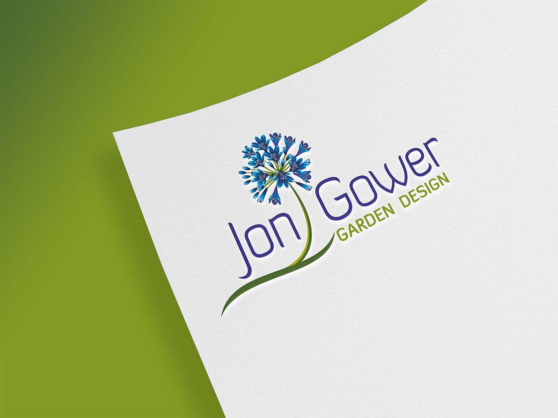 close up of jon gower garden design logo