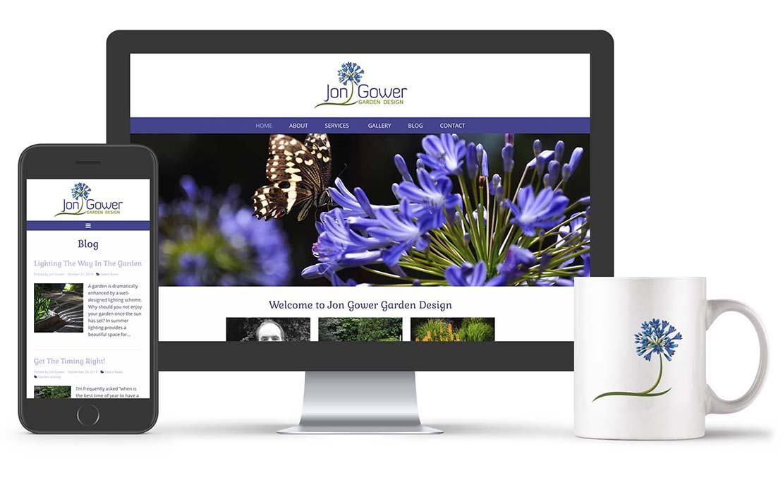 website design on screen for jon gower