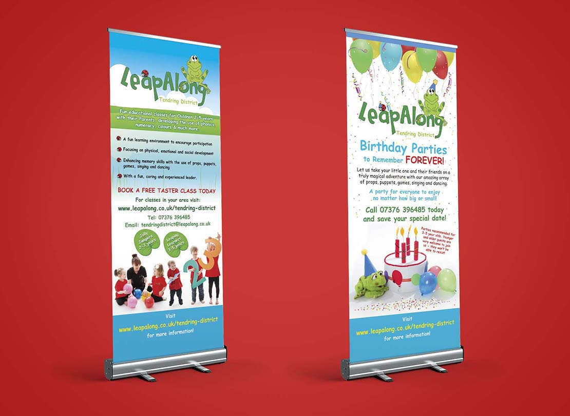 leapalong learning roller banner designs