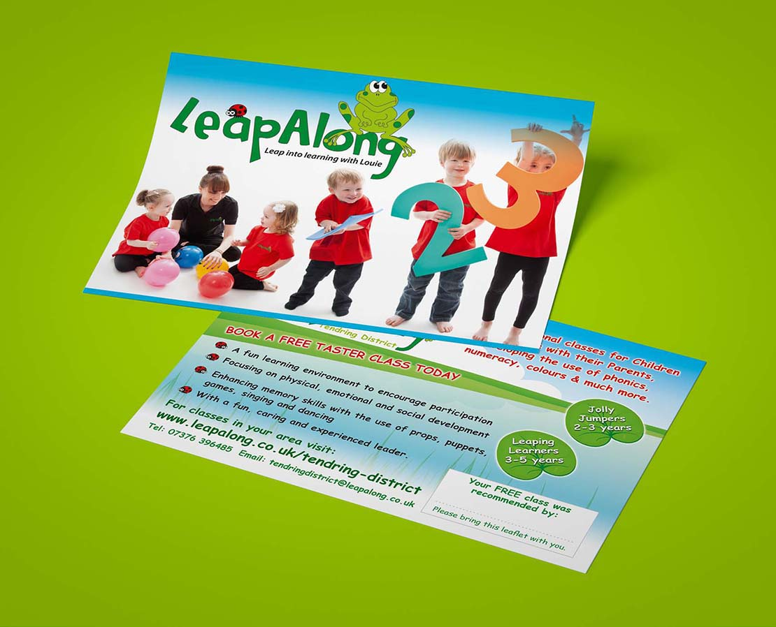 leapalong learning designed and printed leaflets