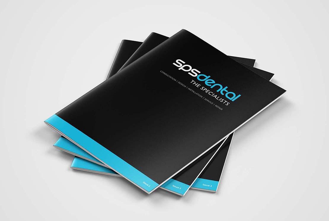 stack of printed brochures for sps dental