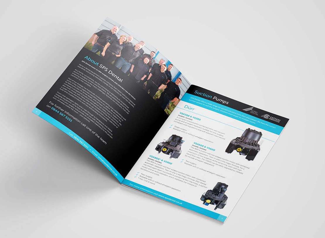 sps dental printed brochure opened