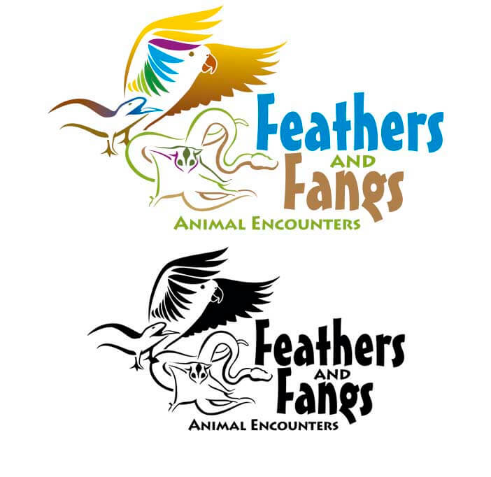 full colour and mono feathers logo