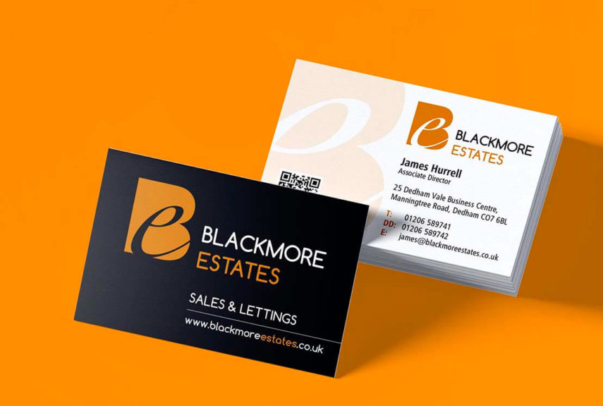 business card design for blackmore estates