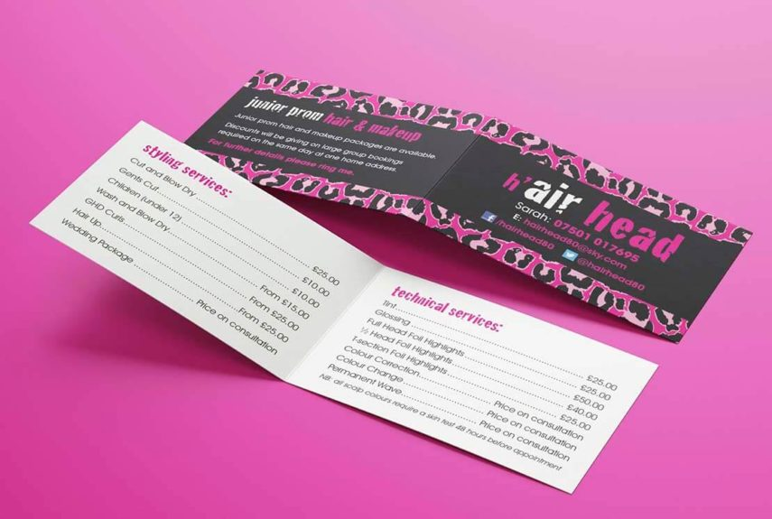 digitally printed business cards for hair