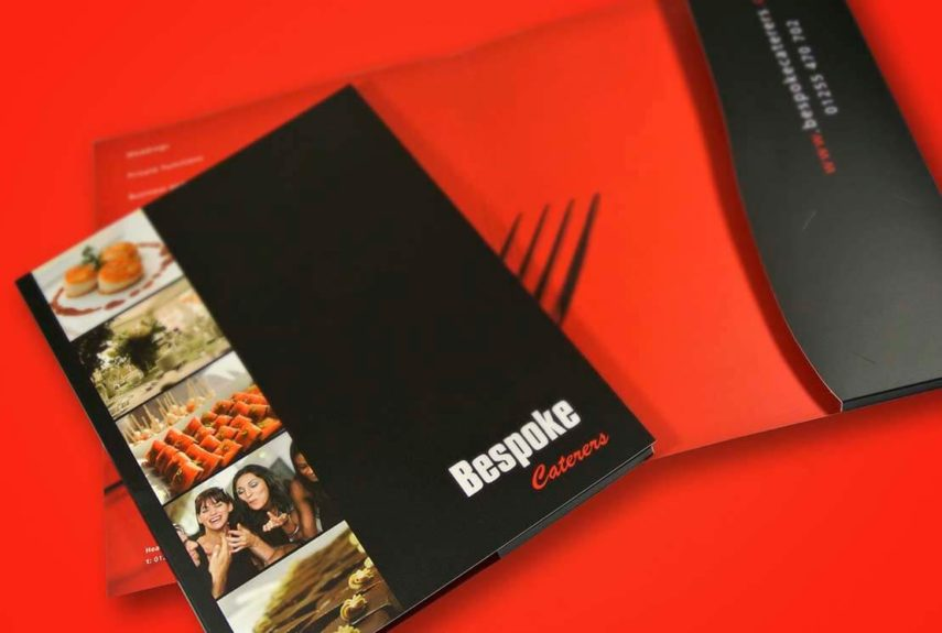 bespoke caterers black and red folder designs
