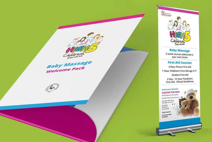 branded folder and roll up banner for high 5 children's services