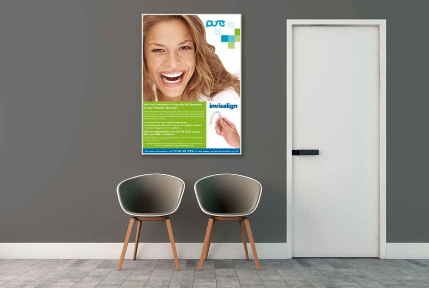 large poster on wall for pure
