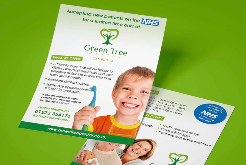 green tree dental bespoke leaflets