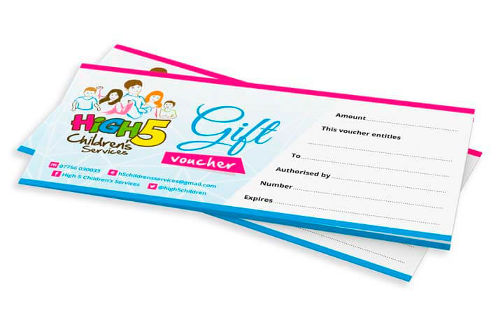 colourful gift vouchers for high 5