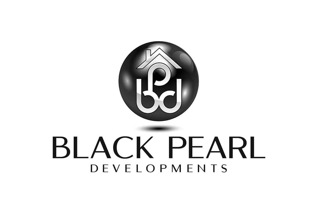 black and white logo design of pearl