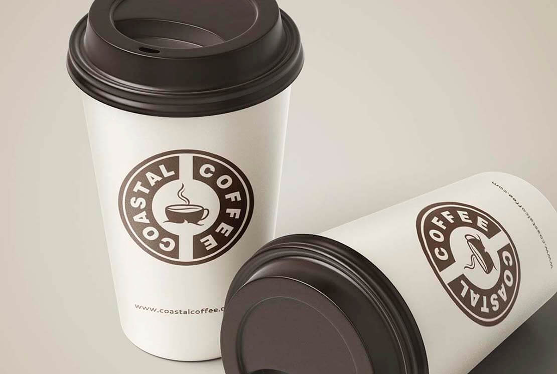 logo design concept on cup for coastal coffee