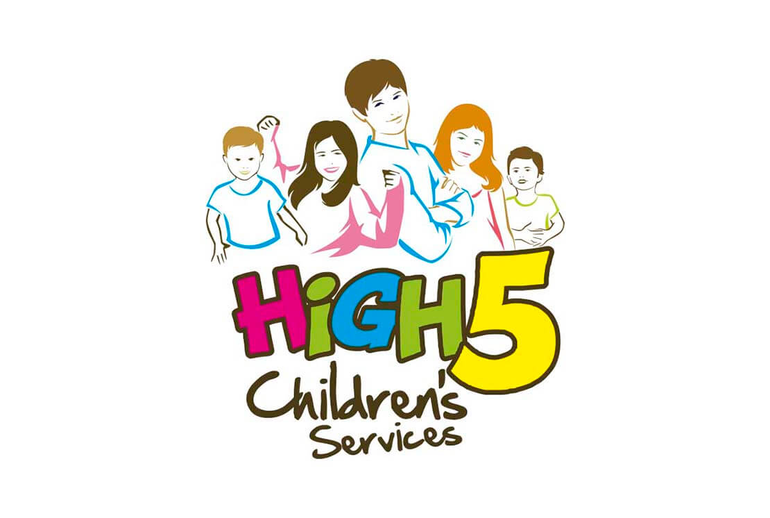 colourful illustration logo for high 5