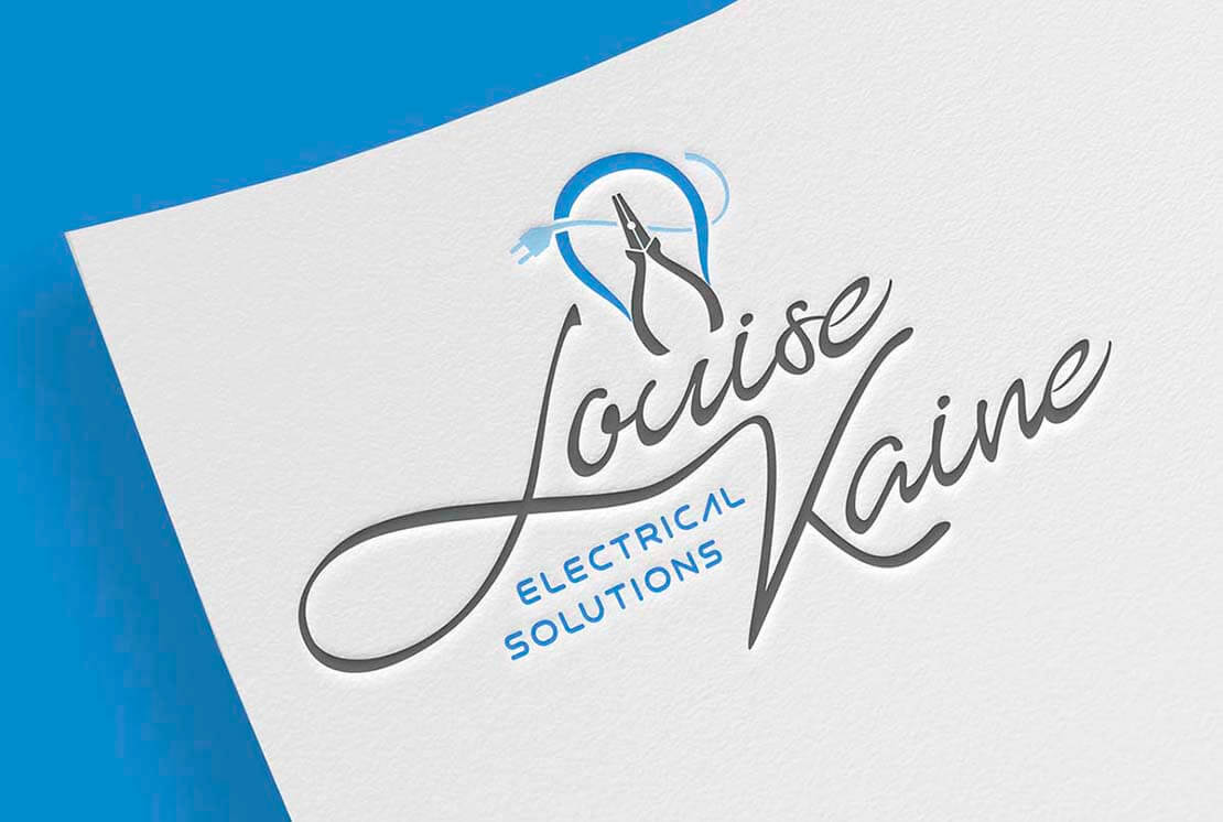 close up of louise kaine logo on letterhead
