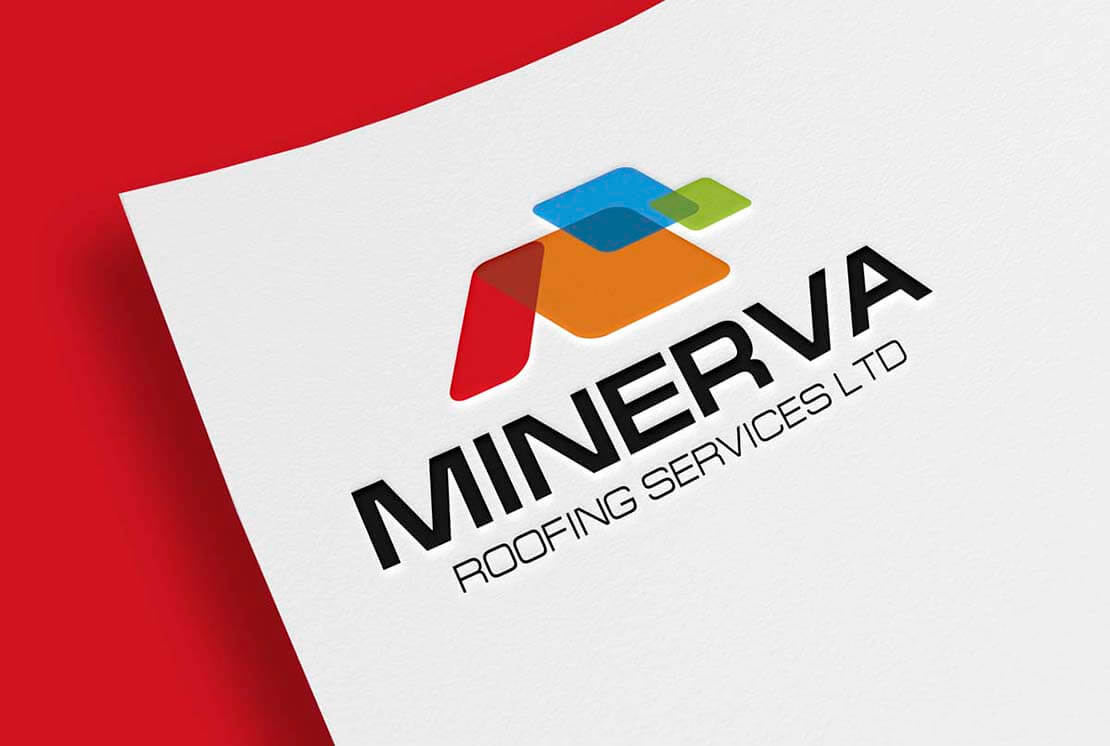 close up of minerva logo on letterhead