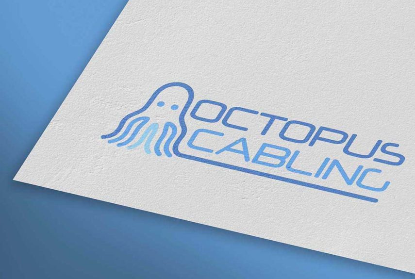 close up of octopus cabling's logo on a letterhead