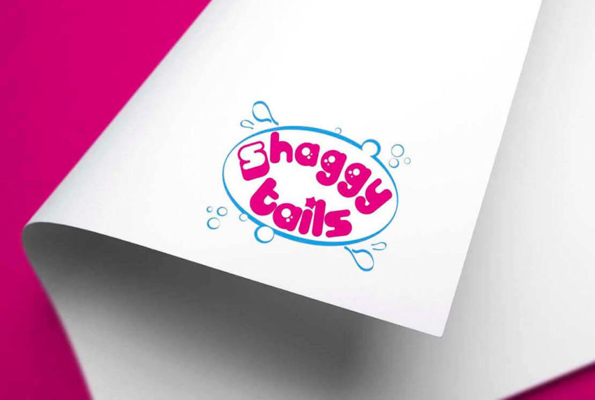 bright pink logo for shaggy tails