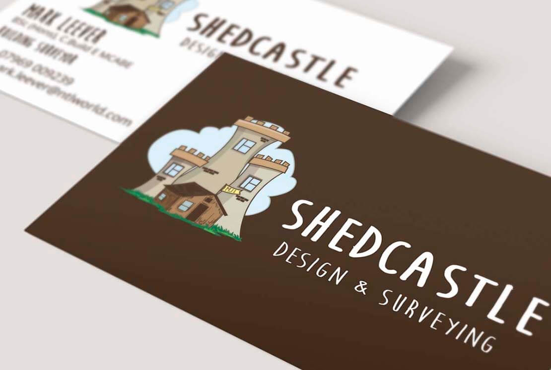 shedcastle custom logo design on business cards