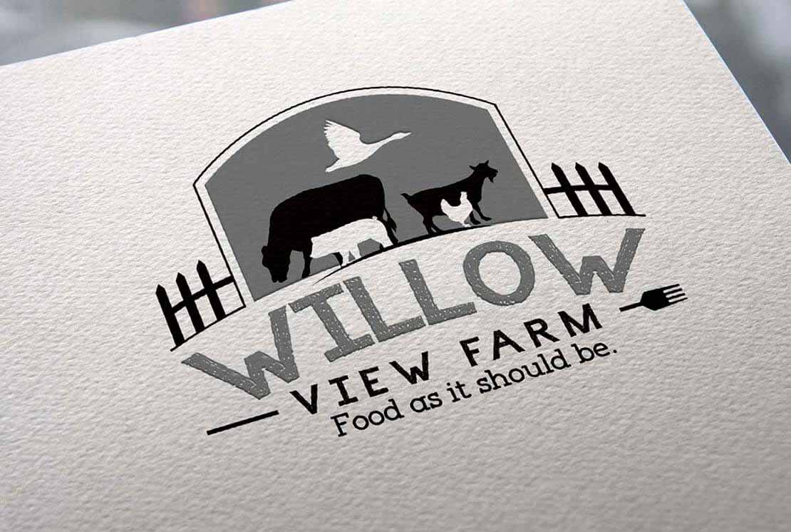 close up of willow farm logo on letterhead