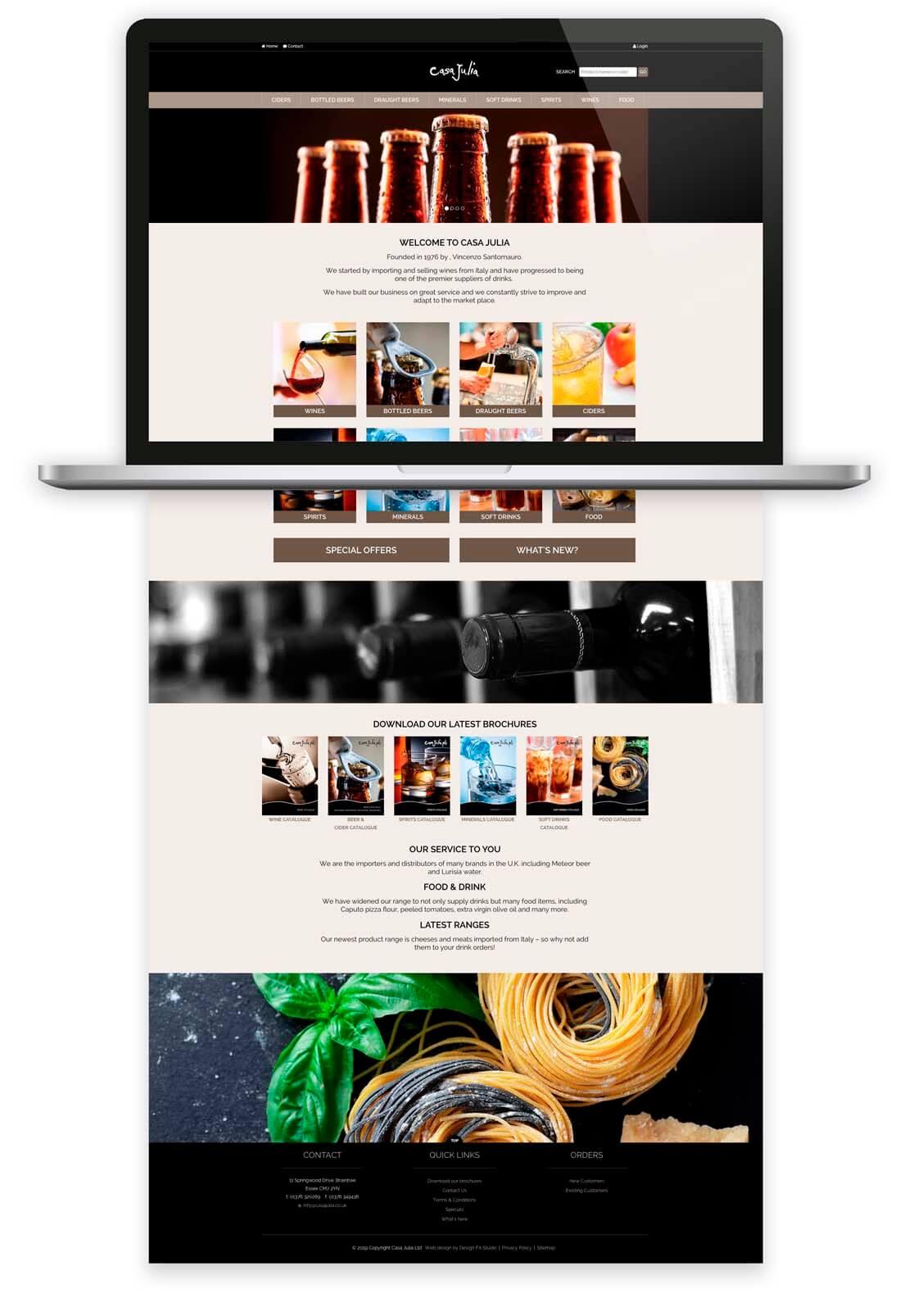 website design laptop concept for casa julia