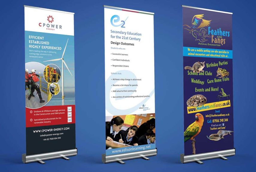 a selection of custom roller banners