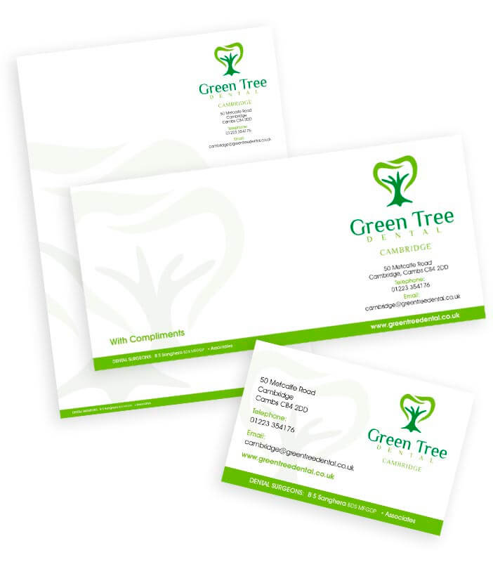 card, compliment slip and letterhead designs for green tree dental