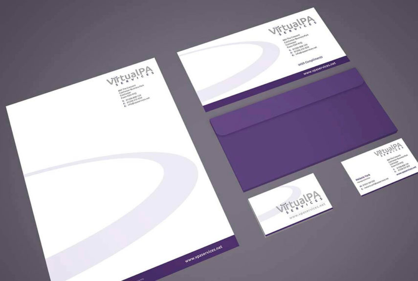 stationery set for a virtual pa company