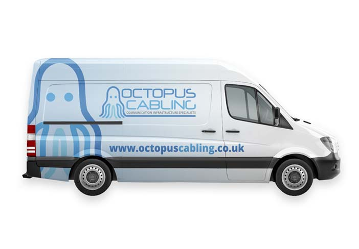 octopus cabling graphics on side of van
