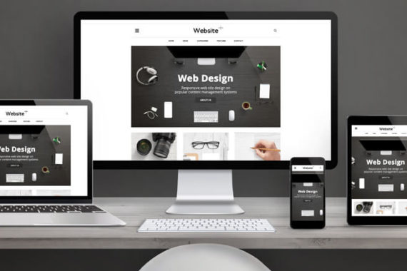 various desktop and mobile devices displaying website designs