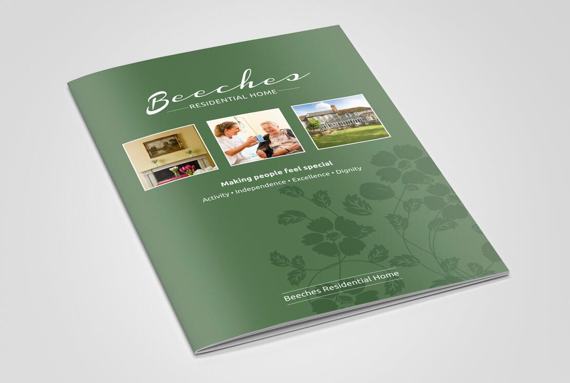 closed portrait brochure in green