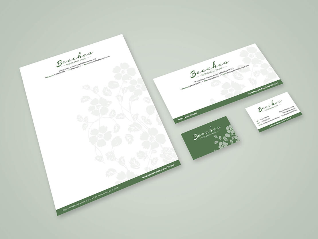 green stationery set for beeches care home
