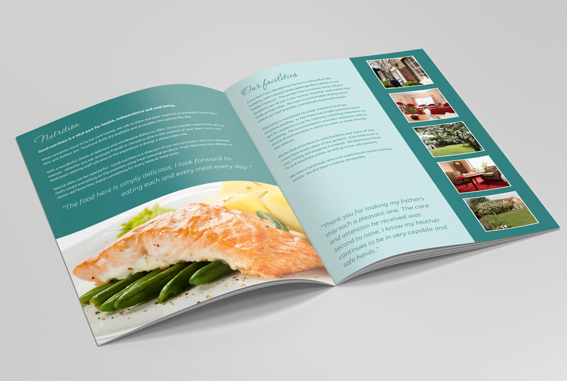 opened brochure pages on grey background