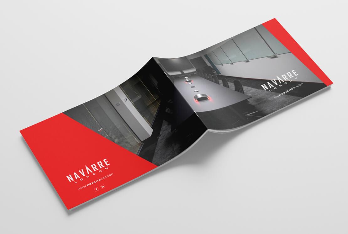red and black landscape brochure flat