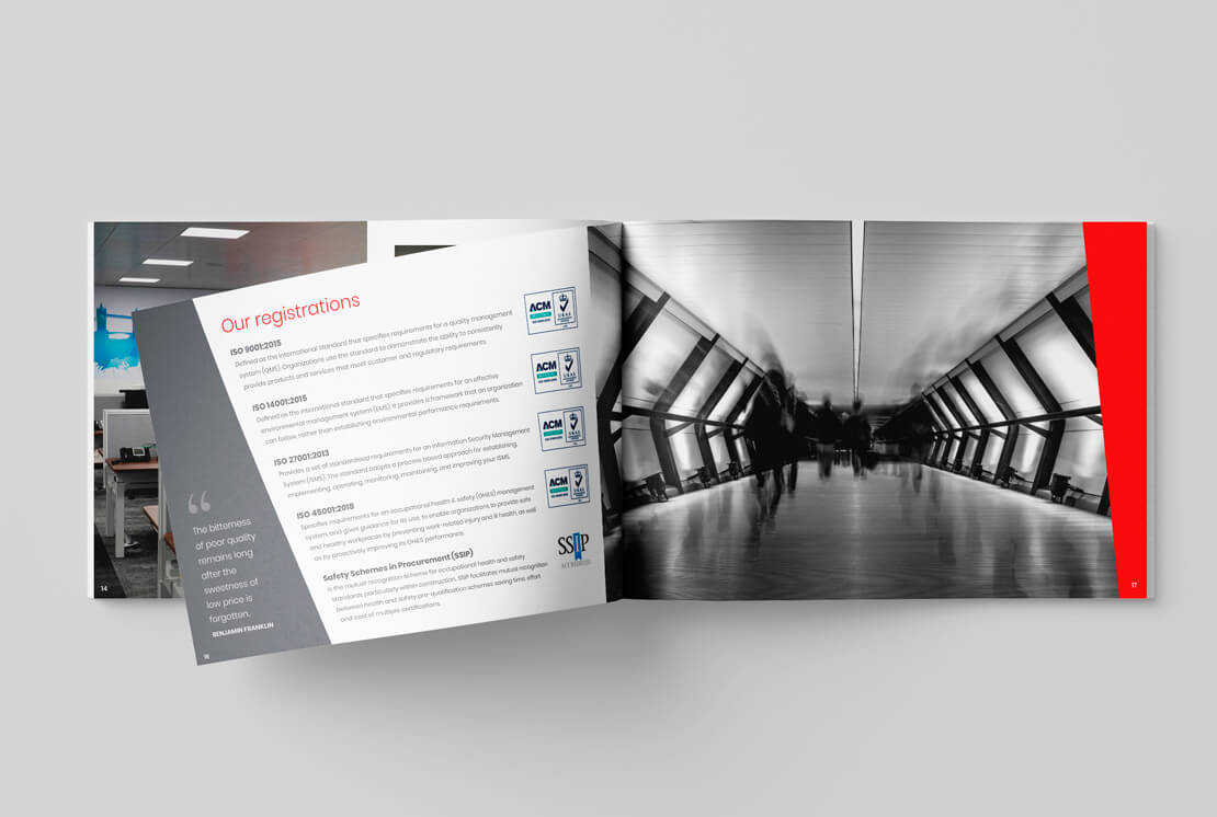 landscape brochure with open pages