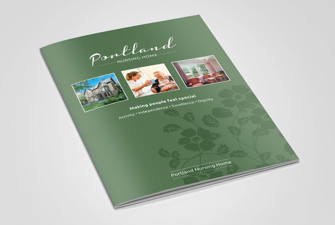closed portrait care home brochure in green