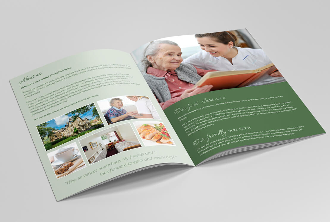 opened nursing brochure pages on grey background