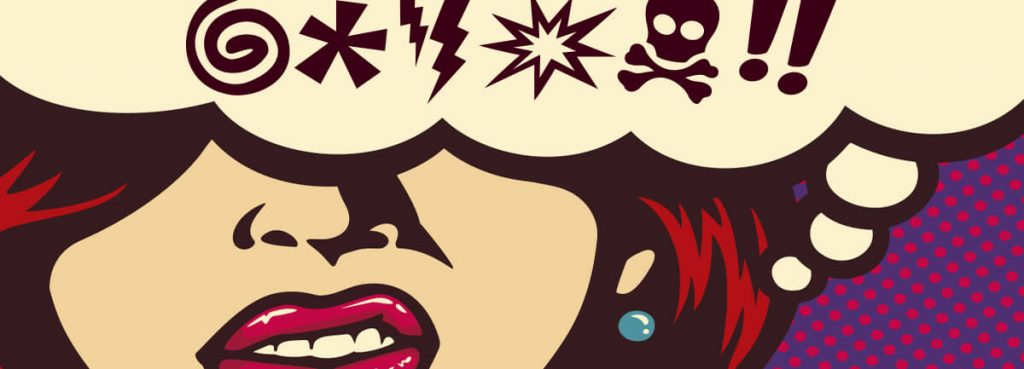 woman swearing in a cartoon style