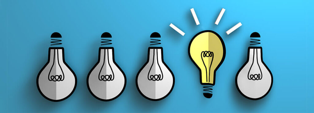 row of lightbulbs on a blue background, yellow bulb idea