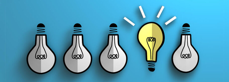 row of lightbulbs on a blue background, yellow bulb idea