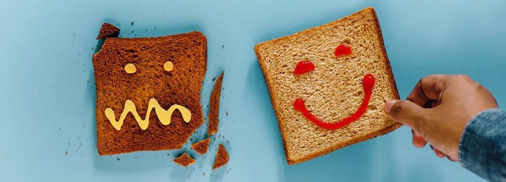 happy toast and toast that's been burnt and not happy