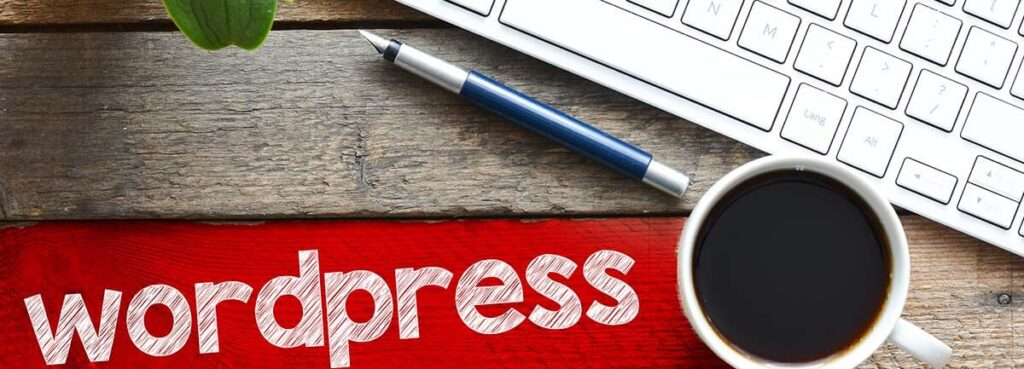 wordfpress text on red stripe next to coffee cup